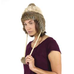 Fur Pom Pom Ear Flap Hat Brown