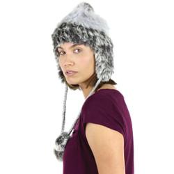 Fur Pom Pom Ear Flap Hat Grey