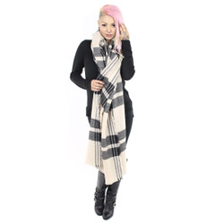 Knitted Rectangle Wide Plaid Scarf with Raw Fringe Beige
