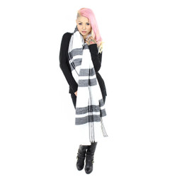 Knitted Rectangle Wide Plaid Scarf with Raw Fringe Ivory