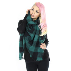 Knitted Oversized Square Scarf Check Print Green