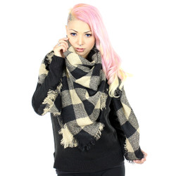 Knitted Oversized Square Scarf Check Print Beige