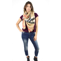Knitted Oversized Square Scarf Haymarket Checkered Camel