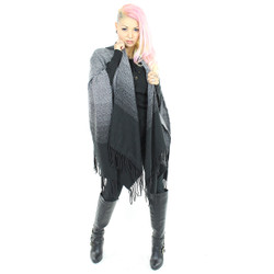 Ombre Hooded Wrap Shawl Scarf Black