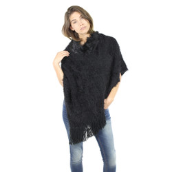 Faux Short Fur Poncho Black