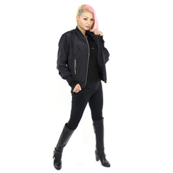 Bomber Jacket with gold zipper side Pockets (L/XL)