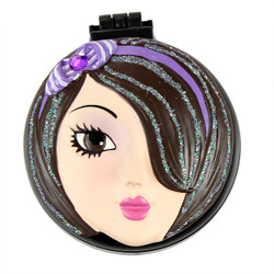 Jade Compact Mirror Popup Brush