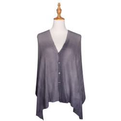 Multi Use Soft Scarf with Buttons Ombre Grey