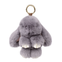 Rexy Rabbit Keychain Purse Charm Grey
