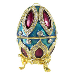 Multicolored Bejeweled Egg Trinket Box