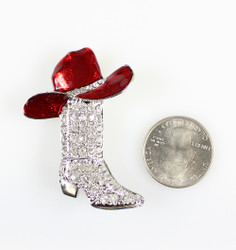 Crystal Encrusted Cowboy Boot and Hat Brooch Pin or Pendant, Silver and Red