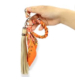 Designer Scarf and Tassel Keychain Orange