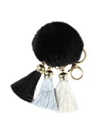 Pom Pom with Tassels Keychain Black
