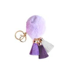 Pom Pom with Tassels Keychain Purple