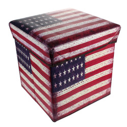 Collapsible Ottoman Box American Flag