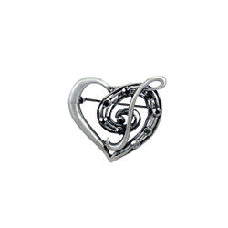 Heart and Music Note Brooch