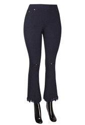 Fringe Hem Knee Ripped Bell Bottom Jeggings Navy