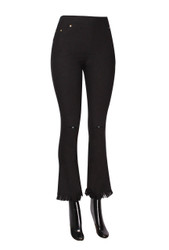 Fringe Hem Knee Ripped Bell Bottom Jeggings Black