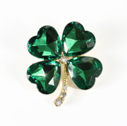 Bejeweled Lucky Four Leaf Clover Brooch Pin