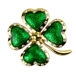 Rhinestone Lucky Four Leaf Clover Brooch Pin Pendant