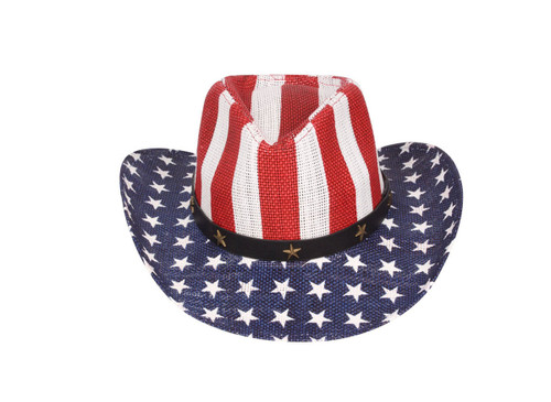 Western Style Shapeable Cowboy Hat - USA, American Flag, Patriotic, America Stripes