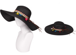 Floppy Hat with Tribal Band Black
