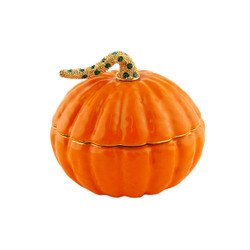 Pumpkin Trinket Box Bejeweled Stem