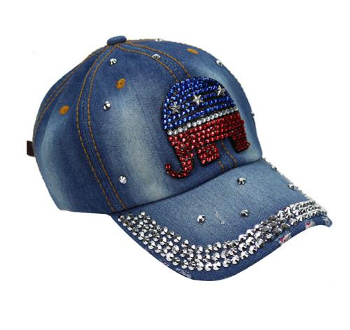 Republican Elephant Rhinestone Baseball Cap Denim Blue