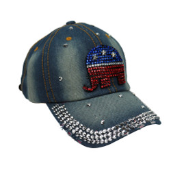 Republican Elephant Rhinestone Baseball Cap Denim Light Blue