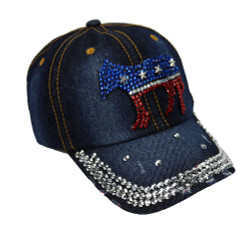 Democratic Donkey Rhinestone Baseball Cap Denim Dark Blue