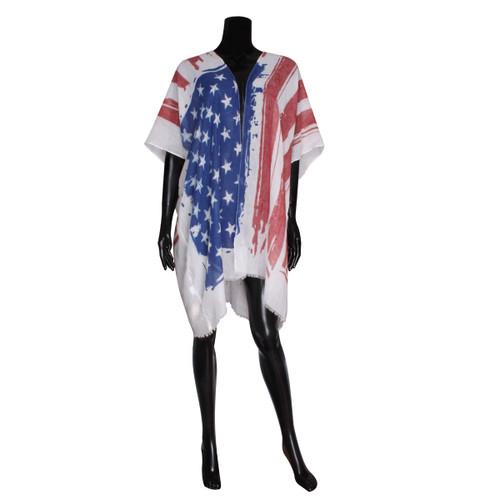 American Flag Wrap Kimono White