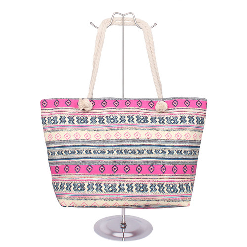 Tribal Canvas Tote Pink