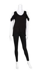 Black Cold Shoulder Short Sleeve Top (S/M)