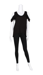 Black Cold Shoulder Short Sleeve Top (L/XL)