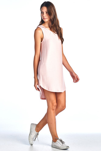 Made in USA Comfy Hooded Tank Ribbed Dress Pink Small