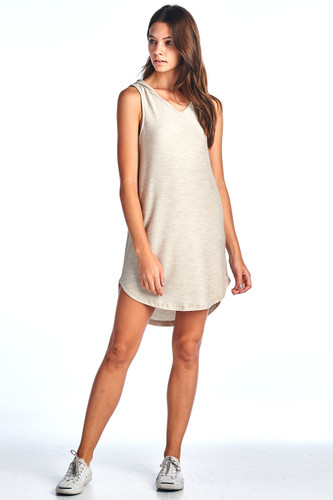 Made in USA Comfy Hooded Tank Ribbed Dress Beige Large