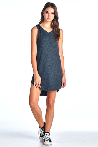 Made in USA Comfy Hooded Tank Ribbed Dress Charcoal Small