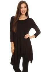 Asymmetrical Tunic Top 3/4 Sleeve Black Medium