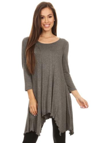Asymmetrical Tunic Top 3/4 Sleeve Grey Medium