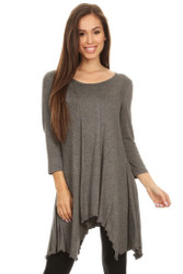 Asymmetrical Tunic Top 3/4 Sleeve Grey Large