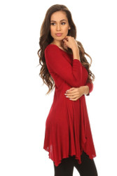 Asymmetrical Tunic Top 3/4 Sleeve Burgundy Small