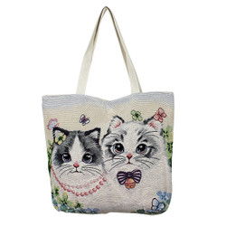 Lovely Kitties and Butterflies Canvas Tote