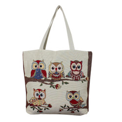 Owls on Tree Canvas Tote
