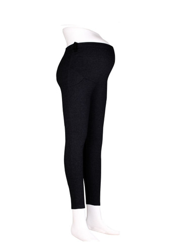 Maternity Comfy Cotton Leggings with Pockets Black Plus Size