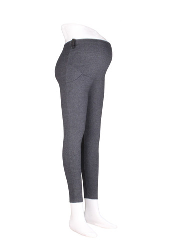Maternity Comfy Cotton Leggings with Pockets Grey Plus Size