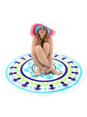 Tropical Palm Tree Cotton Beach Towel Circle