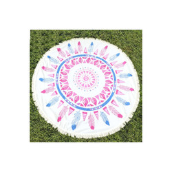 Pink Navaho Beach Cotton Towel Circle