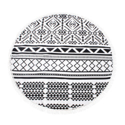Black and White Diamond Cotton Beach Towel Circle