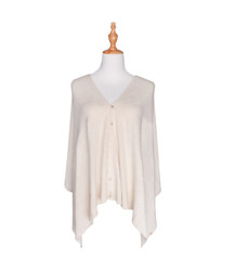 beige button scarf wrap knitted