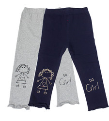 Ultra Soft Kids'Cotton Capri Cute Girl 2 Pack Grey/Navy 3T